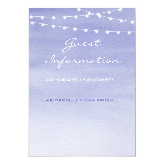 Lavender Watercolor Stringlights Guest Information Card