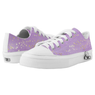 Lavender Watercolor with Gold Stars Low-Top Sneakers