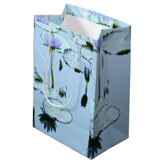 Lavender Waterlily Pond Flowers Lilypads Gift Bag