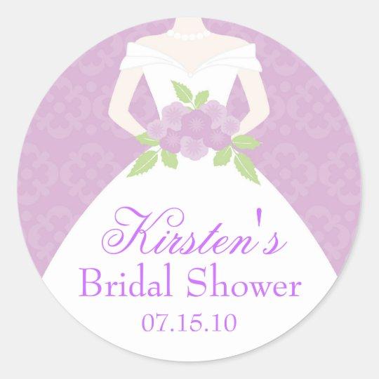 Lavender Wedding Dress Bridal Shower Classic Round Sticker