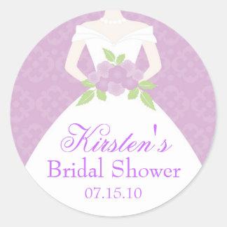 Lavender Wedding Dress Bridal Shower Round Sticker