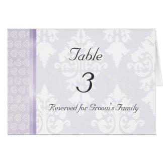 Lavender Wedding Table Number Card