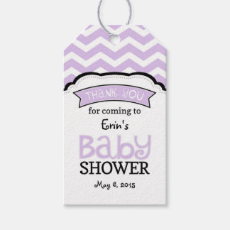 Lavender White Chevron Baby Shower Thank Tags Pack Of Gift Tags