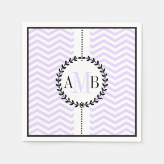 Lavender, white chevron pattern wedding paper napkin