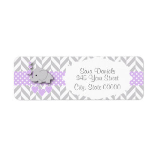 Lavender, White Gray Elephant Baby Shower 2