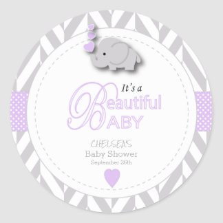 Lavender, White Gray Elephant Baby Shower Classic Round Sticker