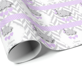 Lavender, White Gray Elephant Baby Shower Wrapping Paper