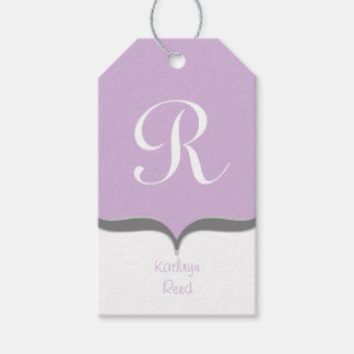 Lavender White Gray Monogram Name Gift Tags