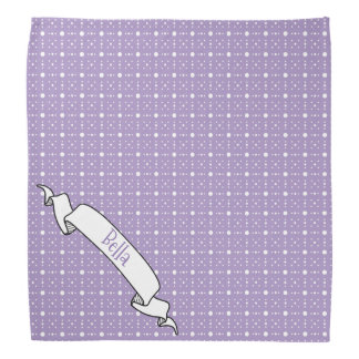 Lavender White Polka Dot Pattern Banner Pet Name Bandana