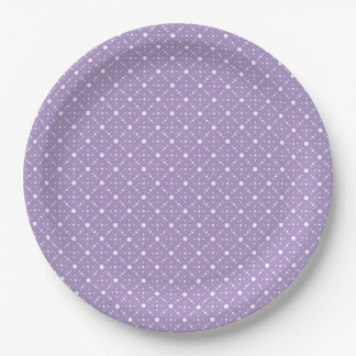 Lavender White Polka Dots Celestial Sky Pattern 9 Inch Paper Plate