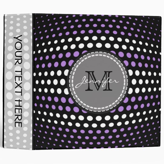 Lavender & White Polka Dots Pattern Monogram Binders