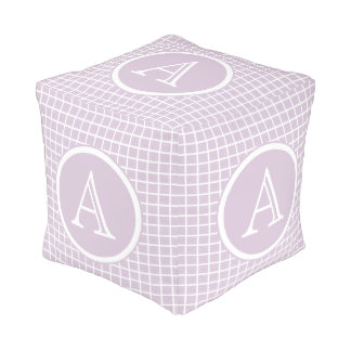 Lavender & White Sturdy Spun Polyester Cubed Pouf