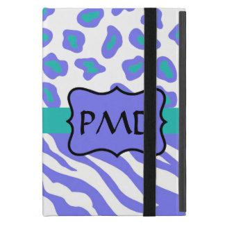 Lavender, White & Teal Zebra & Cheetah Personalize Case For iPad Mini
