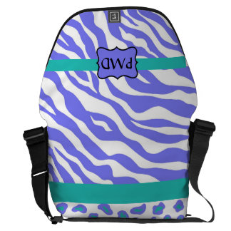 Lavender, White & Teal Zebra & Cheetah Personalize Courier Bag