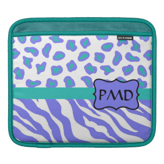 Lavender, White & Teal Zebra & Cheetah Personalize Sleeves For iPads