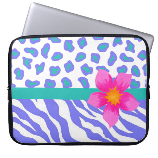 Lavender & White Zebra & Cheetah Pink Flower Computer Sleeves