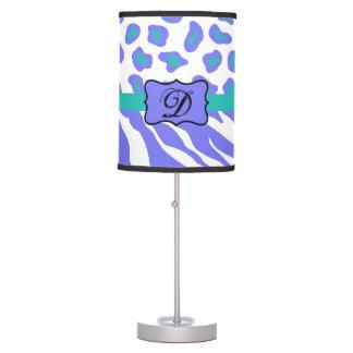 Lavender White Zebra Leopard Skin Monogram Initial Desk Lamps