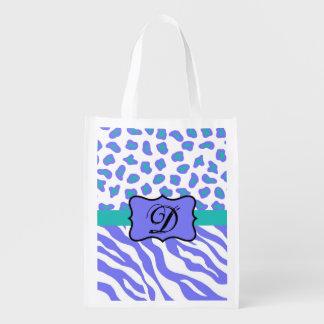 Lavender White Zebra Leopard Skin Monogram Initial Reusable Grocery Bags
