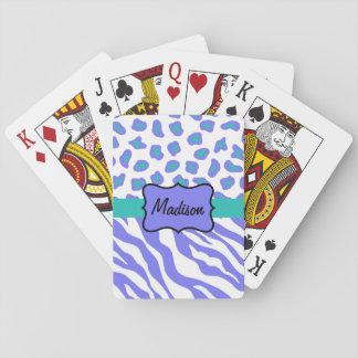Lavender White Zebra Leopard Skin Name Personalize Poker Cards