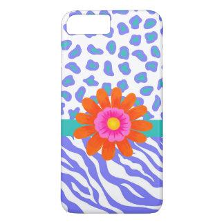 Lavender & White Zebra Leopard Skin Orange Flower iPhone 8 Plus/7 Plus Case