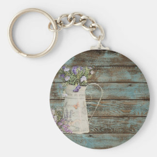 lavender wildflower blue barn wood french country keychain