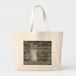 lavender wildflower blue barn wood french country large tote bag