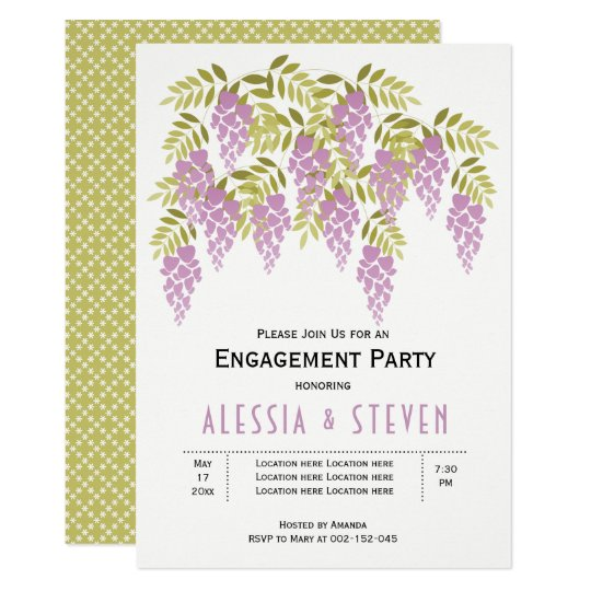 Lavender wisteria floral wedding engagement party card