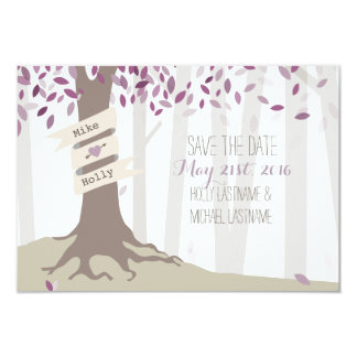 Lavender Woodland Wedding Save The Date Card