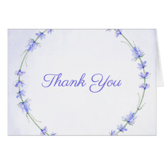 Lavender Wreath Floral Watercolor Thank You Card