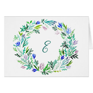 Lavender Wreath Monogram Cards