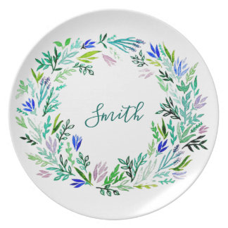 Lavender Wreath Monogram Plate