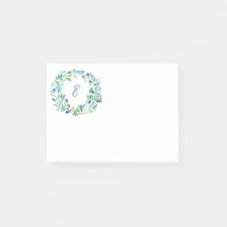Lavender Wreath Monogram Post-it Notes