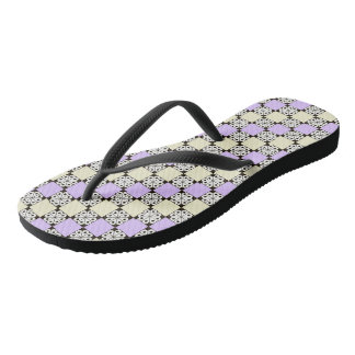 Lavender, Yellow, and Rosette Pattern Flip-Flops Flip Flops