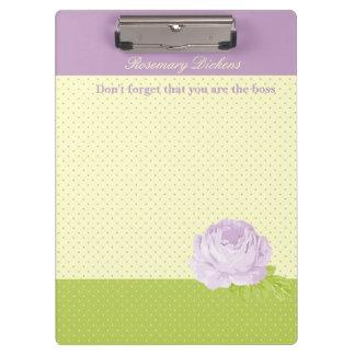 Lavender Yellow Green Polkadots and Rose Clipboard