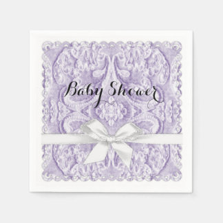 Lavernder Lace with Ribbon Disposable Napkins
