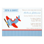 L'avion barre le baby shower rouge de garçon bleu faire-parts