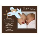 L'avion jumelle la naissance Annoucement de fille  Faire-part Personnalisés