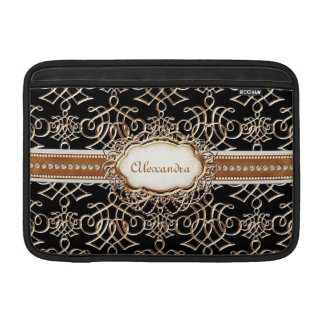 Lavish Elegant Gold Look Calligraphic Swirl Jewels MacBook Air Sleeves