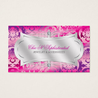 Lavish Fuchsia Lavender Diamond Damask Swirl Business Card