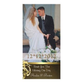 Lavish Gold Heart Scroll Thank You Photo Cards