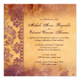 Lavish Lilac Grunge Damask Lace Wedding Invite