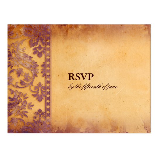 Lavish Lilac Grunge Damask Wedding RSVP Postcard