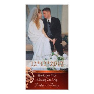 Lavish Orange Heart Scroll Thank You Photo Cards
