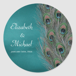 Lavish Peacock Feathers Round Wedding Favor Label