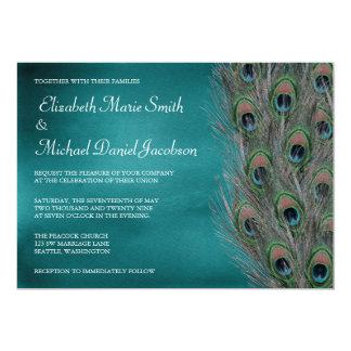 Lavish Peacock Feathers Wedding Invitation