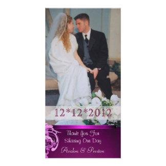 Lavish Pink Heart Scroll Thank You Photo Cards