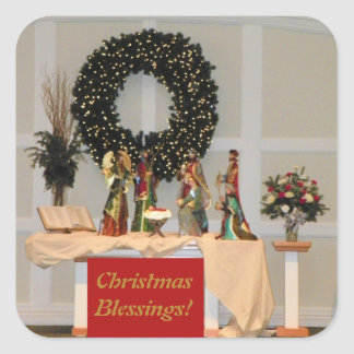 Lavish Richly Coloured Nativity Display Design Square Sticker
