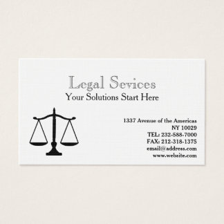 Law balance of justice business card