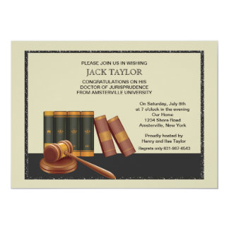 Law Books and Gavel Graduation Invitation