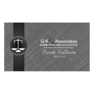 Law Business Card Grey Black Stylish Scale Justice